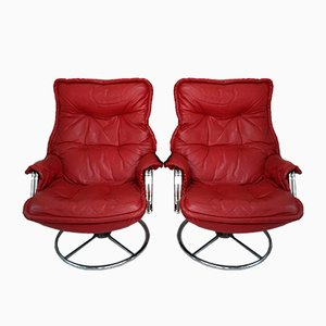Red Leather Armchairs, 1970s, Set of 2