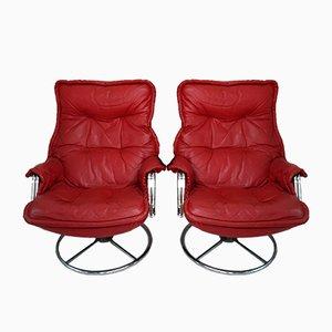 Rote Ledersessel, 1970er, 2er Set