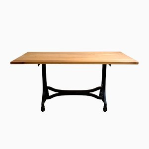 Industrial Dining Table with Cherry Table Top, 1930s