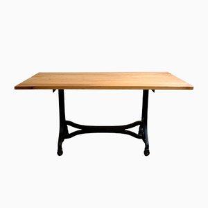 Mesa de comedor industrial con tablero de cerezo, años 30