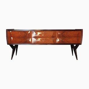 Mueble italiano de vidrio y palisandro, años 50