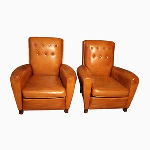 French Cognac Leather Club Chairs, 1950s, Set of 2