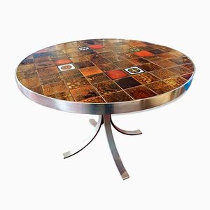 Vintage Living Room Table in Ceramic and Steel