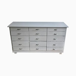 Mid-Century Painted Grey Bank Of Drawers