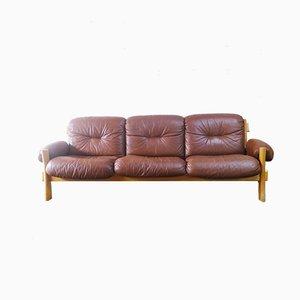 Sofá danés de cuero marrón y pino, años 70