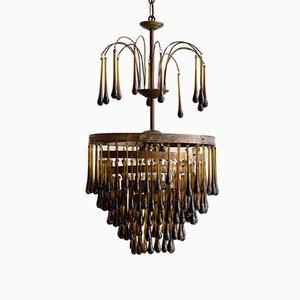 Vintage Olive Brown Waterfall Chandelier