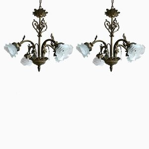 Vintage Blumen Hängelampen mit Milchglasschirmen, 2er Set