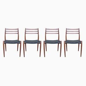 Modell 78 Esszimmerstühle von Niels Otto Møller für J.L. Møllers, 1960er, 4er Set