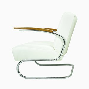 White Leather Cantilever Armchair from Mücke Melder, 1930s