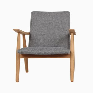 Vintage GE260 Easy Chair in Solid Oak & Wool by Hans J. Wegner for Getama
