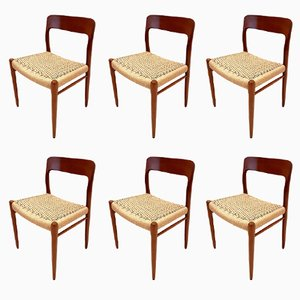 Vintage Dining Chairs in Rope and Teak by Niels Otto Møller, Set of 6