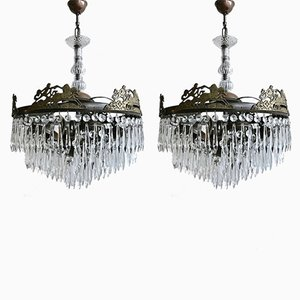 Vintage Continental Chandeliers, Set of 2