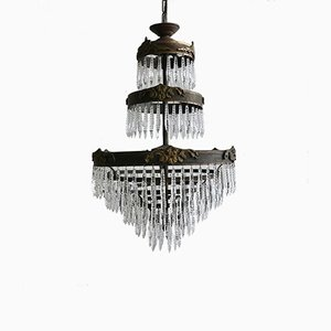Vintage Waterfall Chandelier with Faceted Icicles
