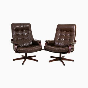 Vintage Swedish Leather Swivel Armchairs, Set of 2