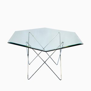 Hexagon Glass Dining Table, 1970s