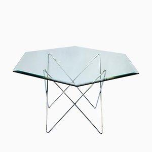 Mesa de comedor hexagonal de vidrio, años 70