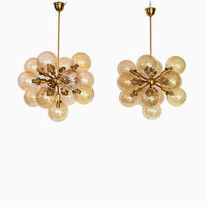 Hollywood Regency Brass & Glass Sputnik Chandeliers, 1960s, Set of 2