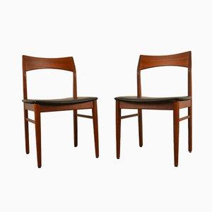 Chaises en Cuir & Teck par Henning Kjærnulf pour Vejle Mobelfabrik, 1960s