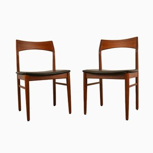 Leather and Teak Chairs by Henning Kjærnulf for Vejle Mobelfabrik, 1960s