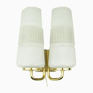 Brass-Colored Wall Light with White Shades, 1950s