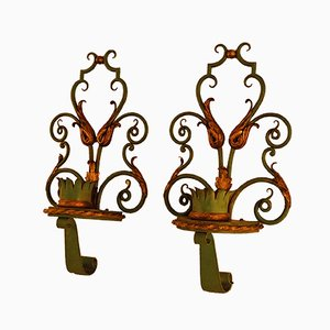 Patinated Wrought Iron Wall Sconces, 1940s, Set of 2