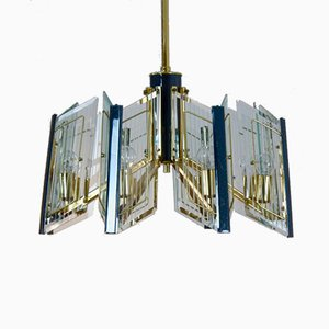 French Brass & Etched Glass Chandelier, 1960s