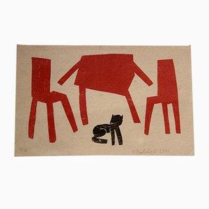 Serigrafía en blanco y rojo de Klaas Gubbels, 2001