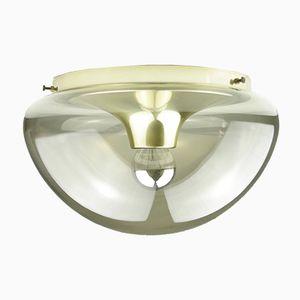 Lámpara de techo grande con globo de vidrio ahumado