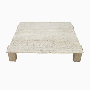 Large Travertine Coffee Table, France, 1960s