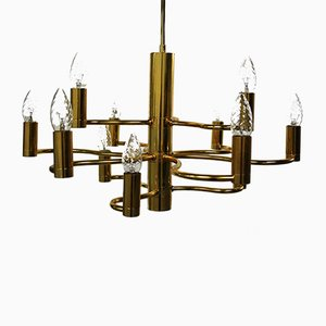 Lámpara de araña de latón de Gaetano Sciolari para Boulanger, años 60