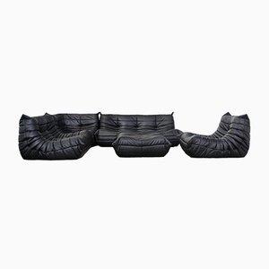 Vintage Black Leather Togo Modular Sofa by Michel Ducaroy for Ligne Roset