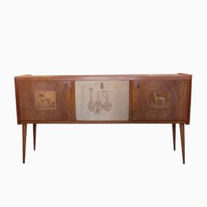 Italian Wood and Brass Decorative Sideboard, 1950s