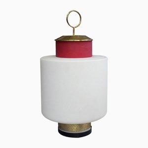 Lámpara de mesa de latón y vidrio rojo de Stilnovo, años 50
