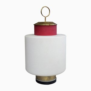 Red Glass and Brass Table Lamp from Stilnovo, 1950s