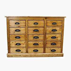 Dutch Pine Apothecary Chest of Drawers, 1940s