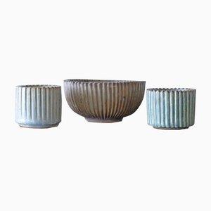 Geriffeltes skandinavisches Keramik Set von Arne Bang für Royal Copenhagen, 1930er, 3er Set