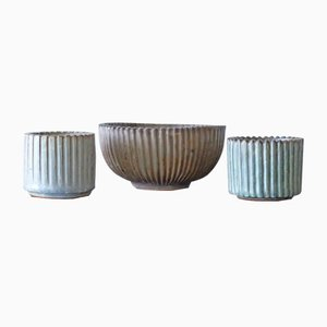 Scandinavian Ribbed Ceramic Set by Arne Bang for Royal Copenhagen, 1930s, Set of 3