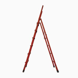 Vintage Red Metal Step Ladder