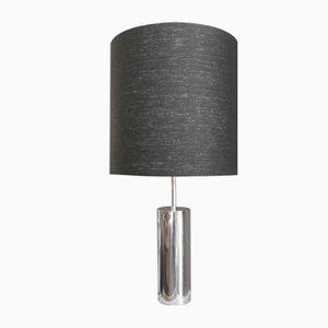 Lampada cilindrica cromata con paralume nero, anni '60