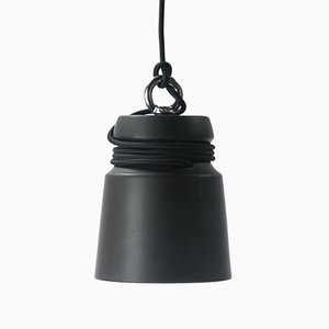 Small Cable Light in Black Matte Glazed Earthenware by Patrick Hartog