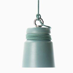 Kleine Lampe aus mattem grün glasiertem Steingut mit Kabel von Patrick Hartog