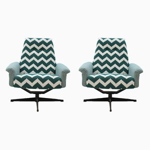 Czech Highback Swivel Chairs, 1970s, Set of 2