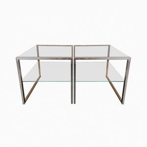 Chrome and Brass Side Tables by Maison Charles, 1970s, Set of 2