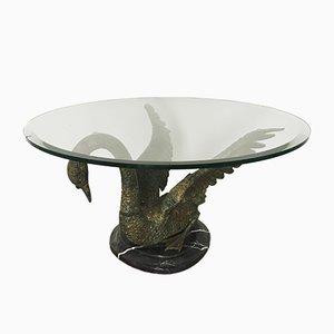 Tavolino da caffè Hollywood Regency con cigno, anni '60