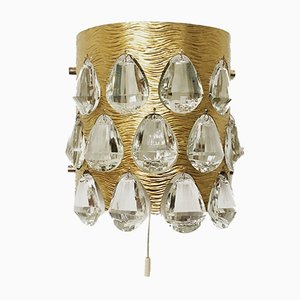 Crystal Glass Wall Lamp from Palwa, 1960s