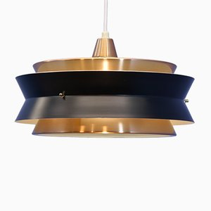 Danish Brass and Black Pendant Lamp from Vitrika, 1960s