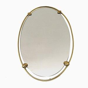 Specchio ovale con cornice in ottone, anni '60
