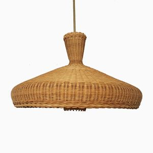 Large Wicker Ceiling Lamp, 1960s