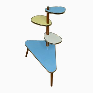 Tavolo Rockabilily a più ripiani color pastello, anni '50