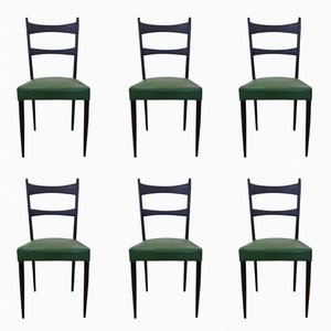 Italian Black and Green Chairs by Osvaldo Borsani, 1950s, Set of 6